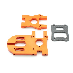 Hauptmotorhalter / Getriebehalter Flux - Aluminium Orange - Billet Machined Motor Mount - HPI Bullet
